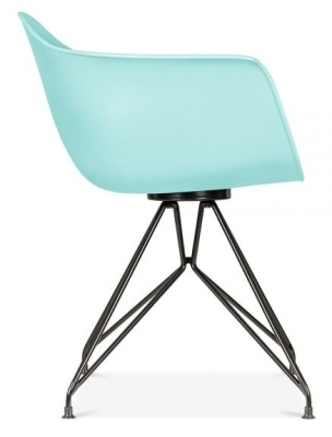 Memot Chair With A Pastel Blue Shell And Black Frame Side View