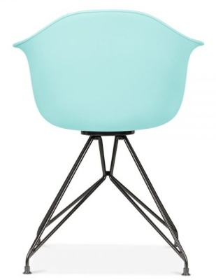 Memot Chair With A Pastel Blue Shell And Black Frame Rear View