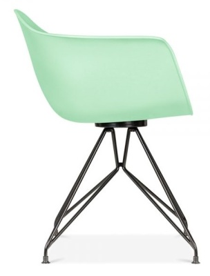 Memot Chair With A Pastel Green Shel And Black Frame Side View