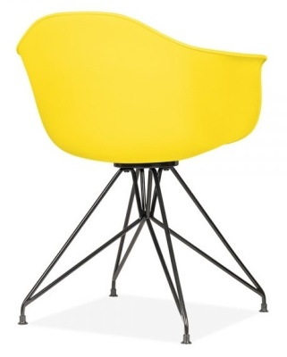 Memot Chair With A Yellow Shell And Black Frame Rear Angle