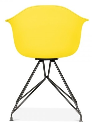 Memot Chair With A Yellow Shell And Black Frame Rear View