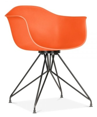 Memot Chair With An Orange Shell And Black Frame Front Angle