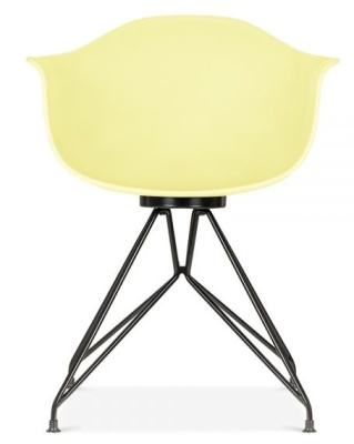 Memot Chair With A Lemon Shell And Black Frame Front View