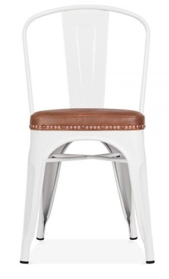 Xavirer Chair In White With A Brown Leather Seat Face Shot