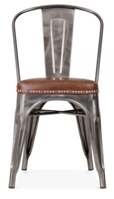 Xavier Pauchard Chair In Gun Metal With A Brown Leather Set Front View