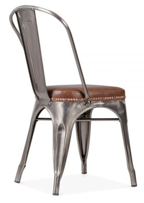 Xavier Pauchard Side Chair In Gun Metal With A Leather Seat Rear Angle