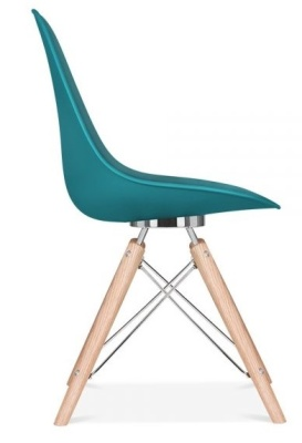 Acona Chair Teal Shell Side View