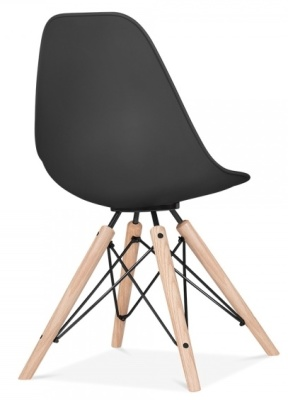 Antona Chair In Black With Black Frame Rear Angle