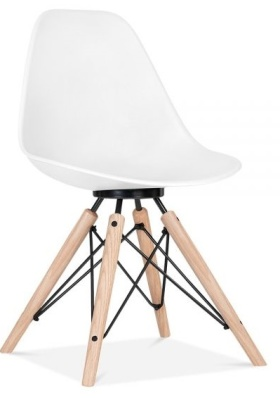 Antona Chair In White With A Black Frame Front Angle
