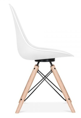 Antona Chair In White With A Black Frame Side View