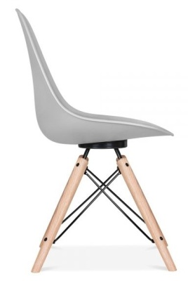 Antona Chair In Grey With A Black Frame Side View