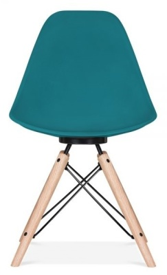 Antona Chair In Teal With A Black Frame Front View