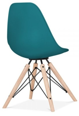 Antona Chair In Teal With A Black Frame Rear Angle