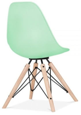 Antona Chair In Pastel Green And Black Frame Rear Angle