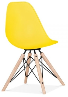 Antona Chair In Yellow With A Black Frame Rear Angle
