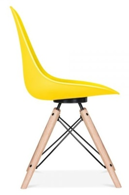 Antona Chair In Yellow With A Black Frame Side View