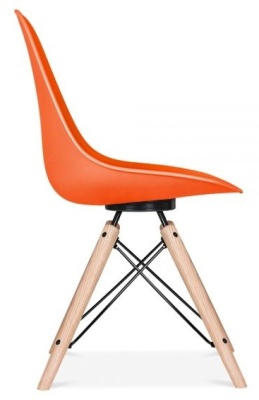 Antona Chair In Orange With A Black Frame Side View