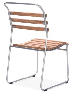 Bahaus Slat Chair With A Gun Metal Frame Rear Angle