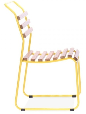 Bauhaus Slat Chair With A Yellow Frame Side View