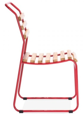 Bauhaus Sled Chair With A Red Frame Side View