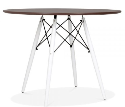 Eamwes Inspired DSW Table With A Walnut Top And White Legs 1