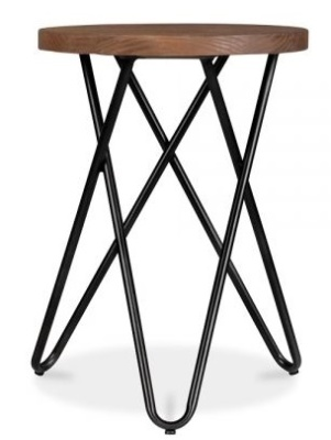 Hairp[in Cross Low Stool Black Frame 1
