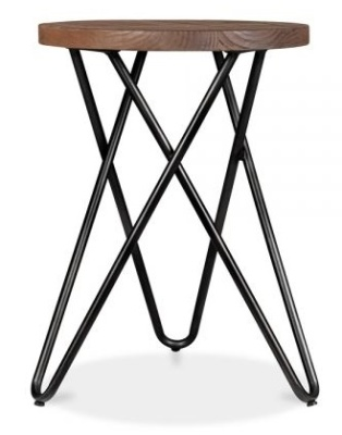 Hairpin Cross Style Low Stool Black Frame 2