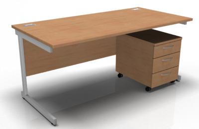 Stellar Rectangular Desk And Pedestal Iun Beech