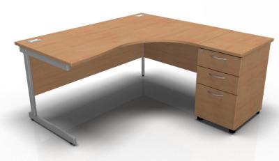Stella Right Hand Ciorner Desk And Pedestal In Beech