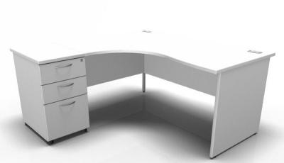 Stellar Left Hand Corner Desk And Desk Height Pedestal In White