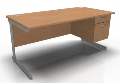 Stellar Pedestal Desk In Beech
