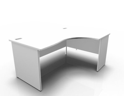 1600 Right Hand Panel End Crescent Desk No Ped In White