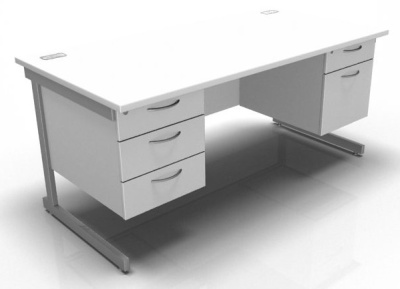 Stella 1600mm Double Pedestal Desk With Cant Frame In White