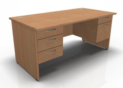 Fixed Double Pedestal Desk In Beech