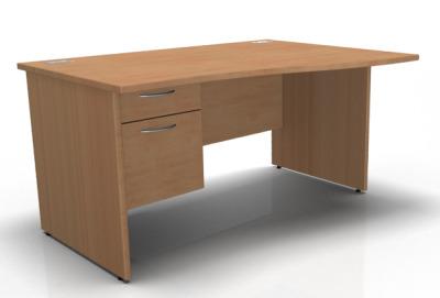 1600 Wave Desk Panel End Rh Fixed Pedestal In Beech