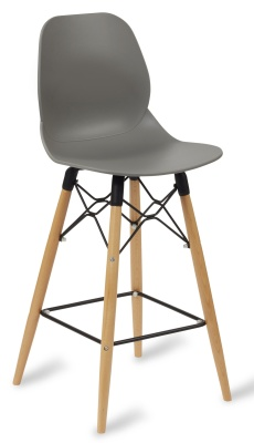 Mackie High Stool With Agrey Coloured Seat And Beech Legs