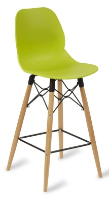 Mamckie High Stool With A Lime Coloured Seat And Beech Legs