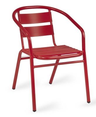 Pandora Outdoor Aluminium Armchair In Red