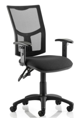 Twilight V2 Operators Chair With A Black Fabric Seat And Height Adjustable Arms