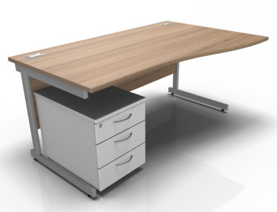 Stellar Right Hand Wave Desk With Mobile Pedestal Birch
