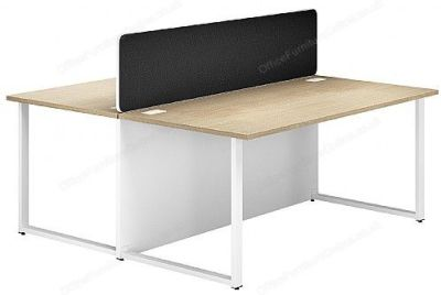 Dual Bench Desk With Screen In Black Fabric