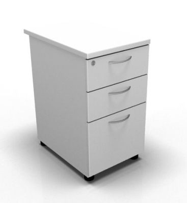 Stellar Three Drawer Desk Height Pedestal In White