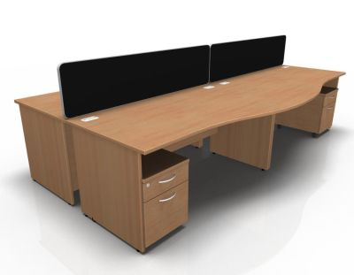 Stellar Wave Desk Panel Ends Mobile Ped Beech