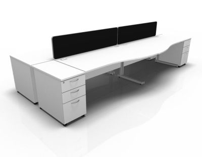 Stellar Wave Desk Cantilever Desk High Ped White