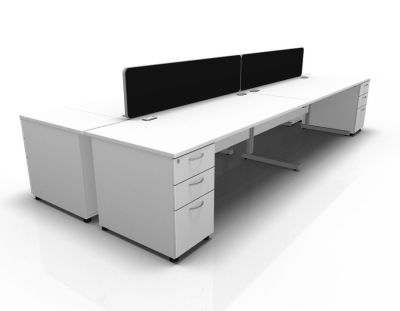 Stellar 4 Way REC Cluster Cant Desk High Peds In White