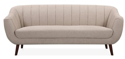 Black Three Seater Sofa With Cream Upholstery Front Shot