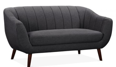 Blake Two Seater Sofa Dark Grey Upholstery Angle View