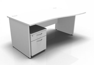 Stellar Right Hand Wave Desk - Panel - Mobile Pedestal In White