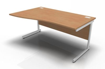 Stellar Left Hand Wave Desk - Cantilever Frame In Beech