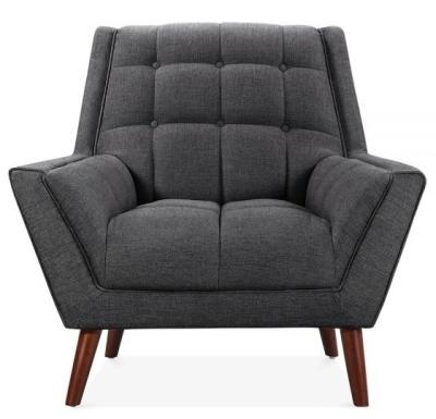 Cortina Single Seater Sofa In Dark Grey Upholstery Face Shot